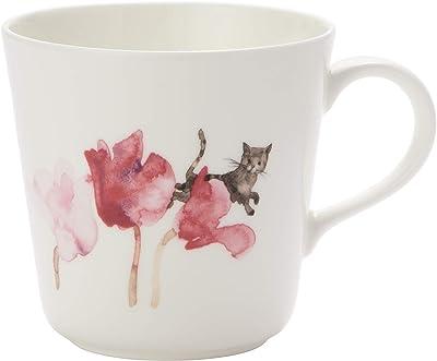 NARUMI(ナルミ) マグカップ シクラメンと猫 いわさきちひろ 340cc 電子レンジ温め 食洗機対応 日本製 52095-2923