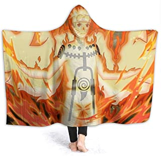 Anime Kurama Naruto Ultimate Ninja Blazing Hooded Blankets, Winter Unique Throw Blanket, Breathable Large Toddler Wearable Blankets for Music Festival, Bed, Holiday