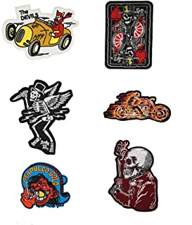 ichipachi 【6枚セット】 スカル ワッペン ポーカー キング 刺繍 アイロンワッペン バイカー サバゲー ミリタリージャケット ワッペン