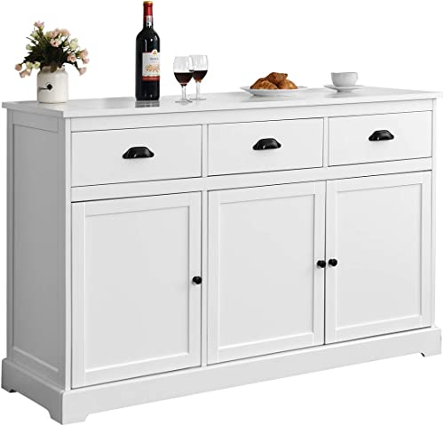 discount Giantex Sideboard Buffet Server new arrival Storage Cabinet Console Table Home Kitchen Dining Room Furniture Entryway Cupboard with 2 Cabinets and 3 high quality Drawers Adjustable Shelves, White (White) sale