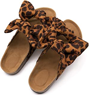 Womens Leopard Slide Sandals Soft Cork Footbed Slip On Slides with Arch Support Leather Knot Bow Sandal Slippers