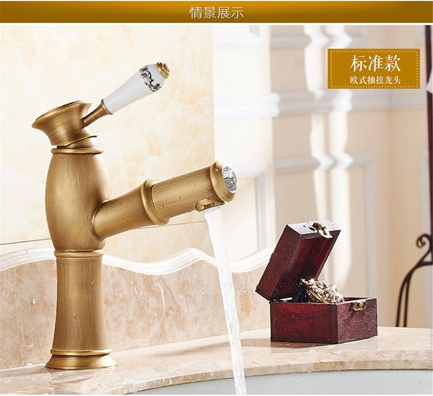 Kokeruup Pull-Out Faucet Copper Bathroom wash redating hot and Cold Bronze Faucet