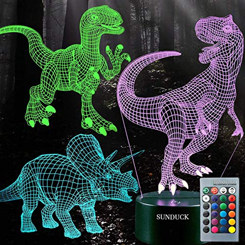sunduck 3D Dinosaur Night Light, 3D Illusion Lamp Three Pattern and 7 Color Change Decor Lamp with Remote Control for Living Bed Room Bar, Best Gift Toys for Boys Girls (3 Pcs)