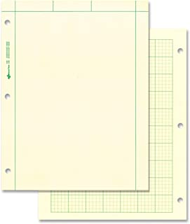 NATIONAL Brand Computation Pad, Plain on Front Side / 5 X 5 Quad on Back Side, Green Paper, 8.5 x 11