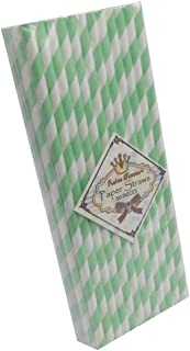 TrendBox 1 Box(50pcs) Reine Femme(TM) Strip Paper Straws for Drinking Birthday Wedding Baby Shower Party Celebration - Mint Green