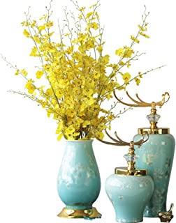 Ceramic Vase New Chinese-Style Artificial Floral Pottery Ornaments Set Home Decoration Wedding Hydroponic Plant Vase Flowe...