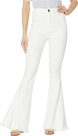 Berkeley Zip-Up Bells Jeans in Pearly White