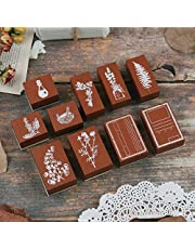 20 Pieces Vintage Wooden Rubber Stamps, Plant & Flowery Decorative Mounted Rubber Stamp Set for DIY Craft, Letters Diary and Craft Scrapbooking TH-0406