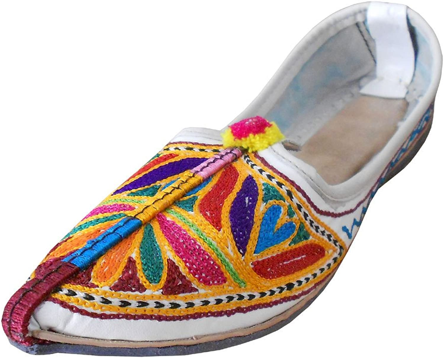 Kalra Creations Women's Traditional Indian Mojari Leather With Embroidery Loafer Flats