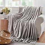 Reafort Ultra Soft Flannel Fleece All Season Light Weight Living Room/Bedroom Warm Blanket (Silver Grey, Throw 50'X60')