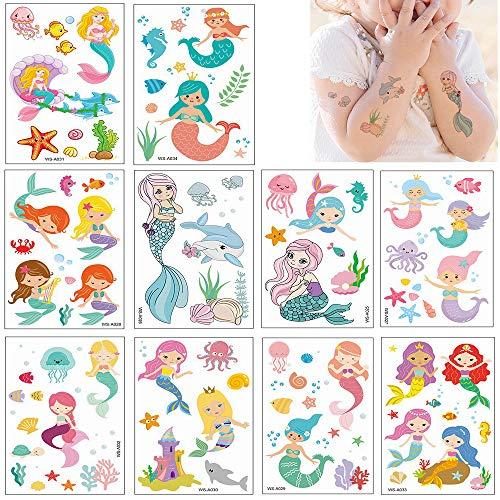 Feelairy Meerjungfrau Tattoo Kinder Set, 140 Stück Prinzessin Temporäre Tattoos Aufkleber Haut Sticker für Mädchen Kindergeburtstag Geschenktüten Mitgebsel Meerjungfrau Partydeko (10 Blätte)