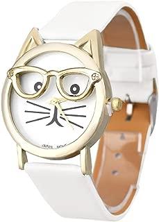 Women Quartz Wristwatch,Hosamtel Girls Cute Glasses Cat Dial Analog Quartz Watch