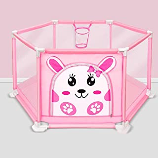 LBYMYB Portable Baby Play Fence Children s Fence Indoor Outdoor Folding Boy Girl Safety Game Center Paddock Child protection  Color Pink