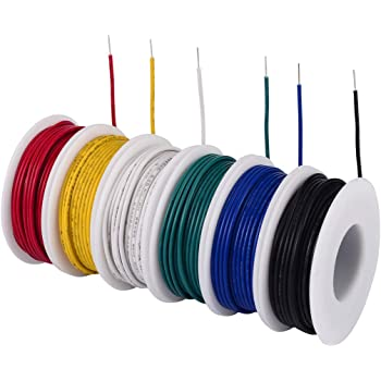 tuofeng 24 awg solid wire-solid wire kit-6 different colored 30 feet spools  24 gauge jumper wire -hook up wire kit - - amazon.com  amazon.com