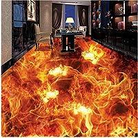Xbwy 装飾壁画 カスタマイズされた人格3D立体床壁画壁紙リビングルームの床の装飾ビニール壁紙燃える火-400X280Cm