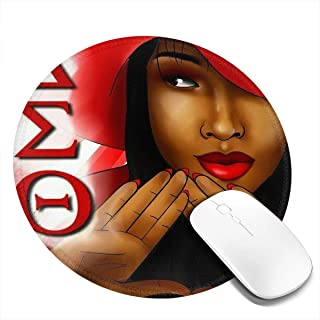 Delta Sigma Theta Mouse Pad with Stitched Edge, Premium-Textured Mouse Mat, Non-Slip Rubber Base Mousepad for Laptop, Computer & PC,7.9x7.9 Inches