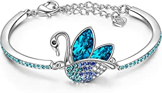 LADY COLOUR Christmas Bracelet Gifts for Women Swan Animal Designed Adjustable Bangle with Crystals from Swarovski Hypoallergenic Jewelry Gift BoxPacking Nickel Free Passed SGS Test Birthday Gifts