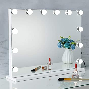"""SHOWTIMEZ Vanity Mirror with Lights Tabletop or Wall-Mounted Lighted Makeup Mirror, Touchscreen Control Cosmetic Mirror with USB Charging Port, 22.8"""" W x 17.5"""" H"""