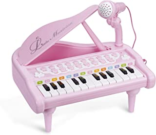 Lonian Baby Piano Keyboard Toy, Pink 24 Keys Kids Piano Multifunction Electronic Musical Instruments with Microphone for Girls Birthday Gift Toys