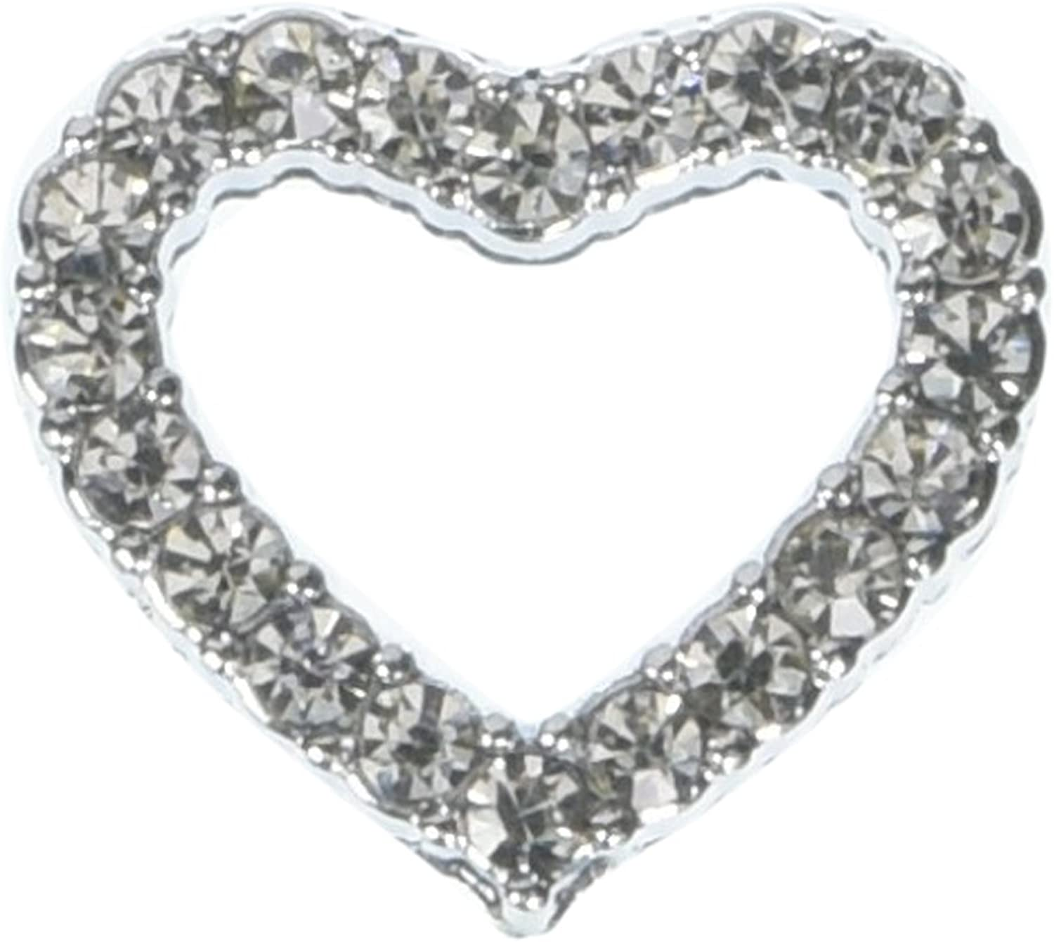 Mirage Pet Products Slider Heart Collar Charm, 3 4Inch, Clear