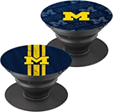 2 Pack - Cell Phone Finger Stand Holder, Grip Foldable Phone Mount Expanding Kickstand Compatible with All Tablets and Smartphones - University of Michigan Logo Jersey Pattern Blue