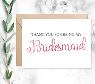 Thank You For Being My Bridesmaid Card with Envelope, Choose from 2 Color Options