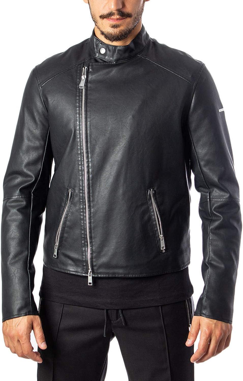 AX Armani Exchange Men's Faux Leather Asymetric Zip Up Jacket