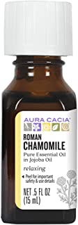 Aura Cacia Roman Chamomile in Jojoba Oil | GC/MS Tested for Purity | 15ml (0.5 fl. oz.)