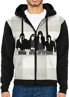 Mens Ramones Music Band Drawstring Hooded Casual Sweatshirt Zip Hoodie with Pocket