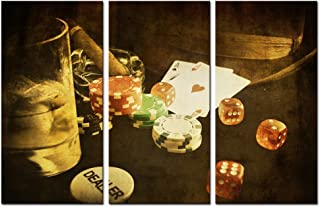 Sea Charm - Vintage Poker Canvas Wall Art - Conceptual Picture Card and Gamble Chip Canvas Prints for Club Wall Decor - 3 Panels Framed Artwork Giclee Print Ready to Hang