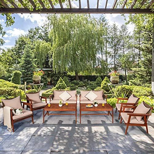 YRRA 4 Stück Terrasse Holz Sofa Set Outdoor Acacia Holz Sitze Chat Set mit Kissen & Kaffeetisch Sektionalgesprächssofa Set für Garten (1 Braun)-2_Braun