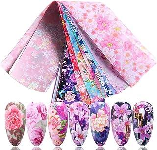 Spijker glitter 10st Kleurrijke Bloemen Print Stickers Nails Folies Wraps Transfer Decals for Manicure Nail Art Decoration...