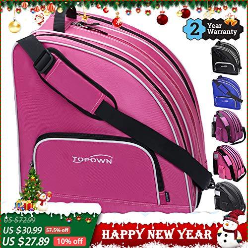 TOPOWN Premium Skate Bag, Ice & Inline Skates Multi-Function Skate Bag, Shoulder Carry Skate Equipment Bag for Boys and Girls, Black/Rose Red Roller Skate Bag for Size 3 – 10.5