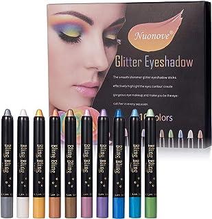 Sombra de Ojos Stick, Pen Eyeshadow, Eyeshadow Glitter, Lápiz de Sombra de Ojos, Sombra de Ojos Hipoalergenico Waterproof Long-lasting Eye Shadow Stick Sombra de Ojos Lápiz, 10PC