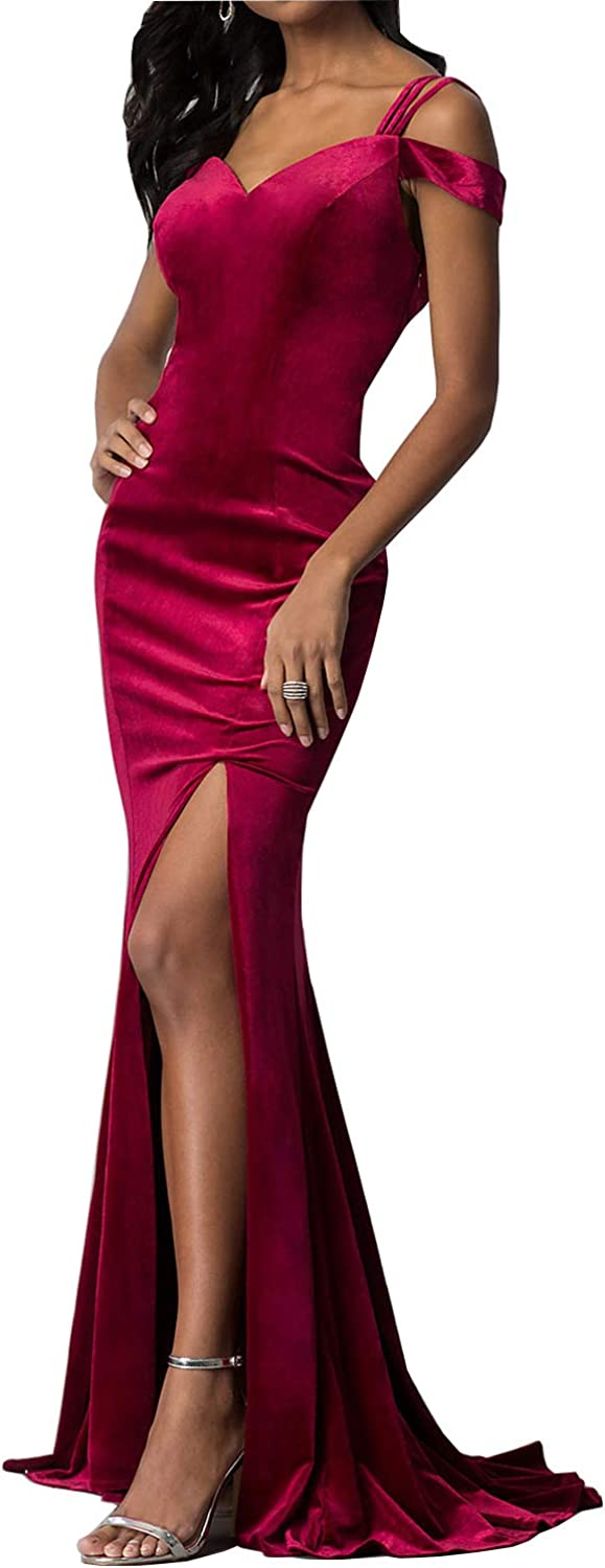 CCBubble Womens Long Velvet Mermaid Prom Dresses Cold Shoulder Formal Evening Party Gowns