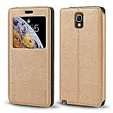 Schutzhülle für Samsung Galaxy Note 3 Neo LTE+ N7505, luxuriös, Holzmaserung, Leder, Kartenfach, Sichtfenster, gold