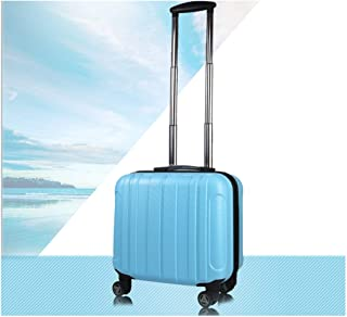 XIAO Hard-spinning suitcase, carrying luggage, trolley case, high quality, travel organizer, best gift, 18 inches, black Happy day (Color : Light blue)