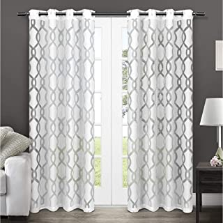 Exclusive Home Curtains EH8039-01 2-96G Rio Burnout Sheer Grommet Top Curtain Panel Pair, 54x96, Winter White, 2 Piece