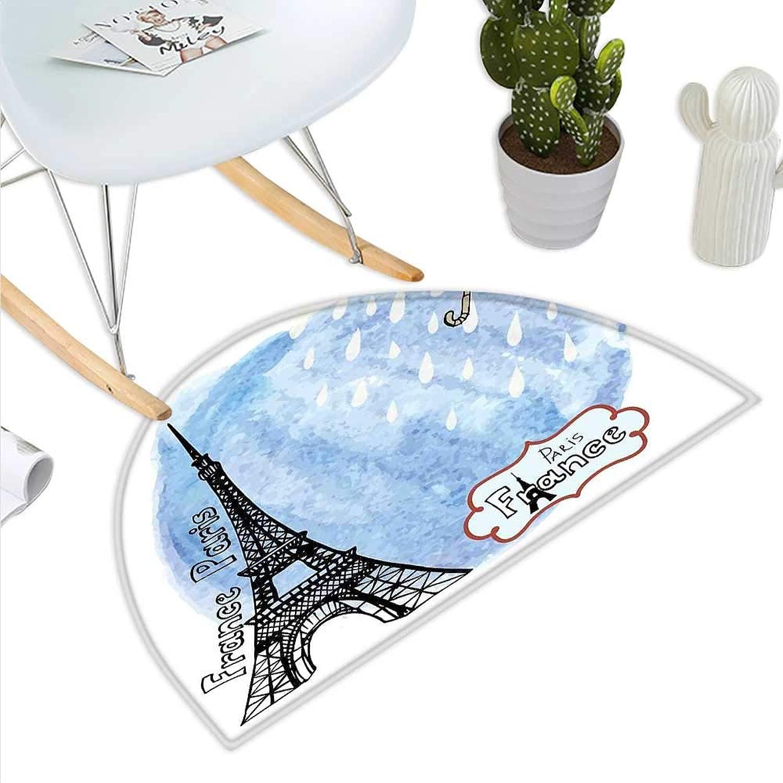 Eiffel Tower Semicircle Doormat Surreal Watercolors Paint of Eiffel Tower with Rain Splashes Paris Culture Landmark Halfmoon doormats H 35.4  xD 53.1  bluee