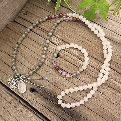 HMANE 8mm Natural Stone Beads Amethyst Ghost Labradorite White Stone Chakra Japamala Sets Spiritual Jewelry Meditation 108 Mala Beads