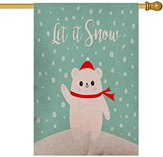 GROOTEY Merry Christmas Garden Flag,Home Yard Decorative 28X40 Inches Let Snow Polar White Bear Cub Waving Paw Print Red Double Sided Seasonal Garden Flags Christmas Kids Garden Flag Christmas Flag