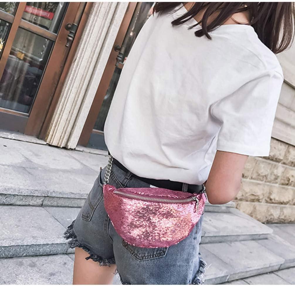 Black Fashion PU Sequins Fanny Pack Chic Zipper Waist Pack Bag Adjustable Strap Hip Bum Bag for Women Men
