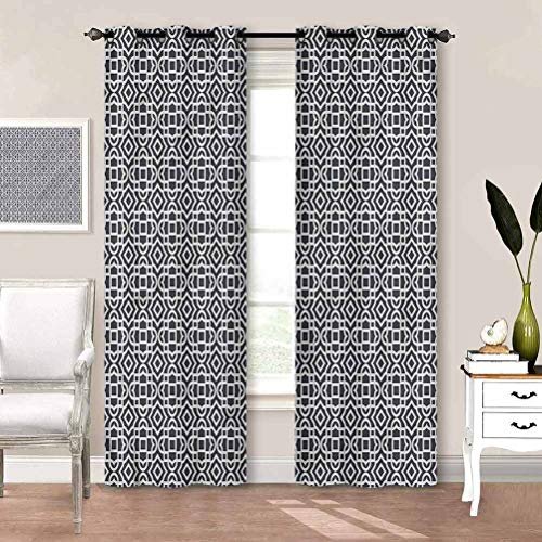 painting-home Blackout Curtain Geometric, Retro Inspired Motifs Room Darkening Blackout Curtains for Villa/Hall/Patio Door W55 x L39 Inch
