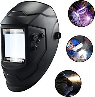WXCC Welding Helmet,True Color Solar Powered Auto Darkening Mask Hood with 4 Optical Sensors for TIG MIG MMA ARC,Breathable Grinding Caps,Wide Shade