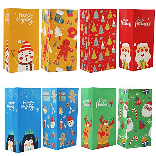 Lulu Home Christmas Treat Bags, 72 PCS Xmas Party Treat Paper Bags, Assorted Party Holiday Favors Bags