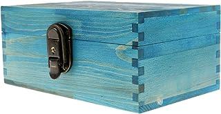Generic Vintage Bijou Boîte en Bois avec Décor de Rétro Serrure et Clé Organisateur d'Accessoire - Bleu