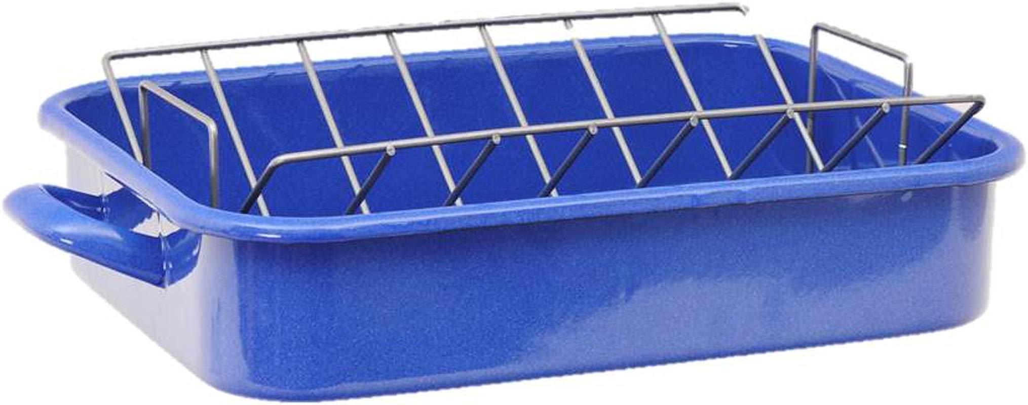 Granite Ware Heavy Gauge Open Roaster With Nonstick V Rack Blue