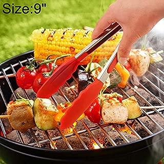WEIHONG Gadget 9 pulgadas de silicona antideslizante para alimentos Pan Barbacoa BBQ Pinzas de clip Herramientas de cocina (Negro) WEIHONG (Color : Red)