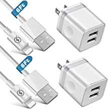 iVelltare Phone Charger (4-Pack), 2 X 6FT Long Fast Charging USB Cable Cord + 2-Pack 2.1A Dual USB Wall Charger Plug Power Adapter Compatible with Phone 11/11Pro/11 Pro Max/Xs/XR/X/8/7/6 Plus, Pad