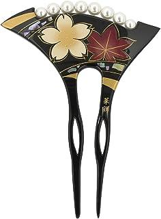 (ソウビエン) バチ型簪 黒 ブラック 桜 紅葉 フェイクパール 花 貝殻 二本足 髪飾り かんざし ヘアアクセサリー レトロモダン フォーマル 日本製